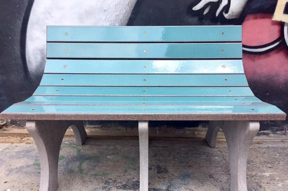 Enamelled Lava Stone bench