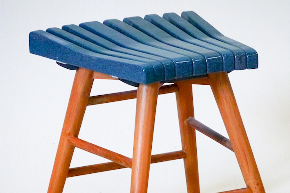 Blue Glazed Lava Stone stool